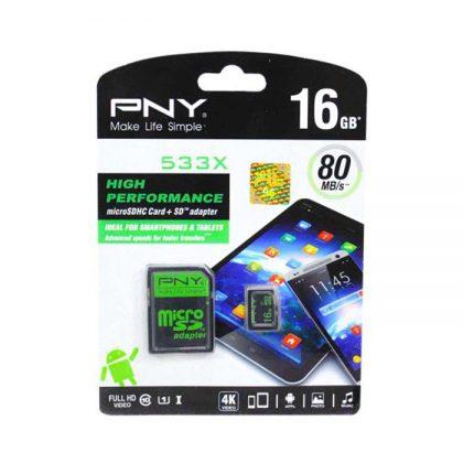 مموری میکرو PNY microSD 533X Class 10 U1 80MB/S 16GB